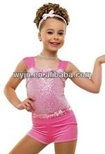 2014 shool girls show short dancewear --shining show dance top&bottom---child&teen blink dance costume