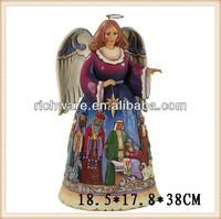 Hand painted resin Christ nativity angel figurine