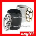 oxgif soqueira caneca fisticup dedo lidar com anel de bronze do punho café leite copo de presente