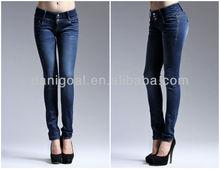 Light blue denim women Jeans cheap name brand skinny jeans