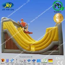 U turn curving slide inflatable two side toboggan yellow puppet moonwalker slide