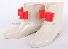Girls cute bowknot design PVC clear jelly rain boots for kids