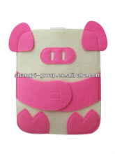 (FA-13)Cute Pink Pig Felt Sleeve Tablets Bag Case for Pad Cover