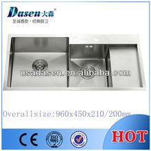 DS9645 Handmade sink, double drain ss kitchen sink