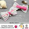 Pink stripe organza ribbon baby handmade hairpins