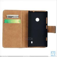 Blank Flip Genuine Leather Case Cover for Nokia Lumia 520 Leather Case P-NKLUMIA520CASE001