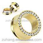 Ear Plug Flesh Tunnel Piercing Jewelry Plated Gold Flesh Tunnel with Clear Gems
