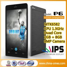 OMES 5.0inch IPS Screen P6 MTK6582 Quad Core WCDMA850/2100 dual sim slim mobile phone