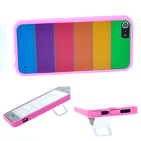 Rainbow Pattern TPU Bumper Frame + PC back cover case for iphone 5 5s