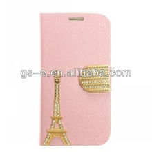 Luxury Diamond Leather Wallet Stand Case for Samsung Galaxy S4 SIV With Paris Eiffel Tower Style