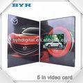5 pulgadas del coche inalámbrico de diseño folleto de vídeo de felicitación para