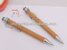 environmental exquisite unique eco-friendly bamboo pen with wave metal clip