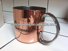 14 Oz Copper Plated Stainless Steel Mule Mug ,moscow mule copper mug, 16oz. copper outer shell travel mug