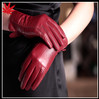 Women nappa leather touch screen gloves red goatskin leather