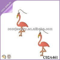 latest fashion jewelry enamel flamingo girls dangle earring