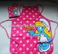 100% rosa de algodão avental e luva de cozinha conjunto cartoon character design de impressão avental kids bonito para as crianças