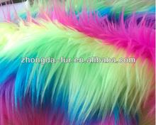 Rainbow bright color jacquard faux fur