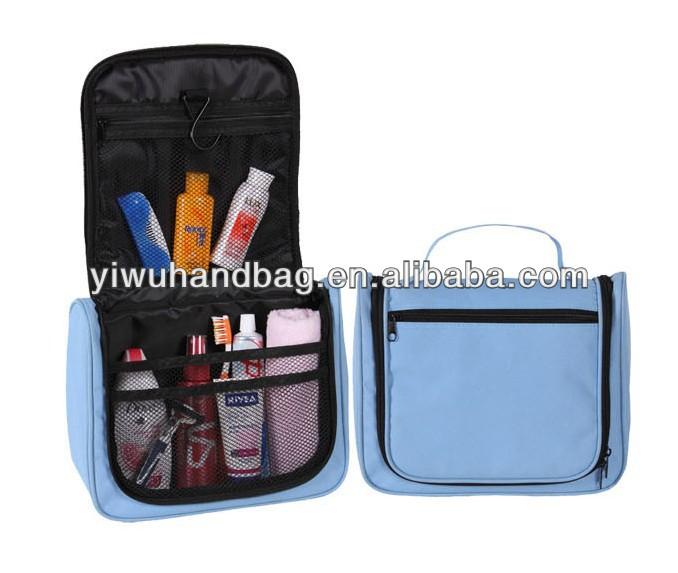 blue hanging toiletry travel bag