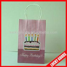 light red with Happy birthday printing kraft pape bag