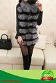 prix usine real fourrure de renard argenté élégant long vestes en cuir de peau de lapin avec col en fourrure veste femme vente chaude