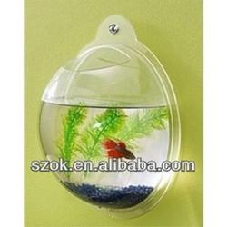 acrylic wall hanging round fish tank/hanging plastic fish bowl