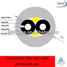 2 core plastic fiber optic cable with aramid yarn