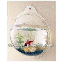 wholesale plastic decorative fish bowl/acrylic wall hanging fish tank