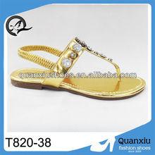 Golden ladies jewelled sandals