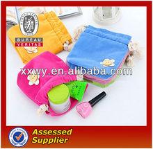 mini custom red velvet printed drawstring cosmetics bag