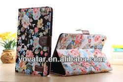 Factory price! retro Jean floral Leather Case for iPad mini