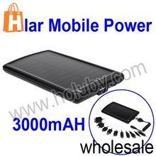 Black 3000mAH Solar Mobile Power For iPhone Samsung HTC Etc