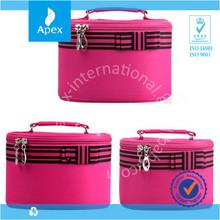 pink round big make up kit bag