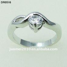shine wave shape surface white zircon one stone ring