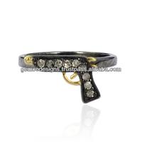 925 Sterling Silver Gun Shaped Designer Mid Ring, Genuine Pave Set Diamond Studded Wholesale Handmade Rings Jewelry