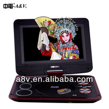 10.1 inch 3D portable HD dvd player with mp3 player dvb-t2/ISDB ATSC tv/dvd combo 12V DC