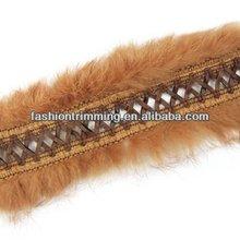 fur feather lace dark coffee PVC leather trim coffee rabbit fur/wool trim