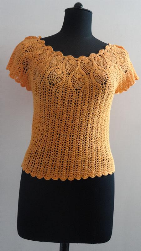 Hecho a mano de ganchillo blusa de flores-Mujeres Blusas y Tops ...