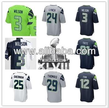 Cheap Football Super bowl 2014 48 Patch Jersey XLVIII Patch Football Seattle 3 Russell Wilson 24 Marshawn Lynch 25 Richar