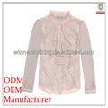 2014 damenmode lange Ärmeln spitze Kombination rüsche stehkragen hochwertige direkte fabrik dame bestickte blusen