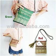 Small Bag, Cross body Bag, Long Strap 'Thai Patterns' Woven Fabrics Handicraft with nice Tassel.