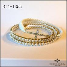 Pure Color Clean Lattice Wrap & Cross Bracelet Set in WHITE Jewelry Wholesale 2014