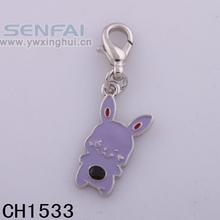 Light Purple Enamel Rabbit Charm with Silver Lobster Clasp