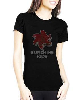 Sunshine Kids Plain Dry Fit T-shirt With Bling Rhinestone Motif