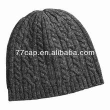 charcoal knit merino wool beanie hat for women