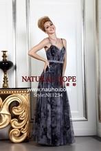 Spaghetti straps black printed chiffon tulle evening dress abendkleider online shop