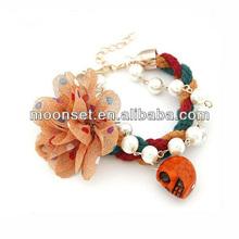 flower prepare imitation pearl skull bracelet hand woven bracelets