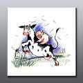 ตกแต่งห้องเด็กการ์ตูนวัวที่ทำด้วยมือจิตรกรรมสีน้ำมันบนผืนผ้าใบ