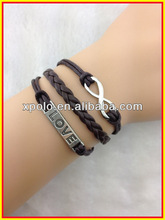 2014 hot sale )clasical charm with word 'love and infinity bracelet dark brown braid cord bracelet