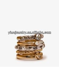 R798-010 gold crystal rhinestone women 5pc finger rings set