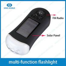 Battery operated and solar panel FM solar radio flashlight mini solar led light